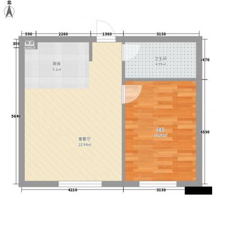 达人社馆1室1厅1卫0厨55.00㎡户型图