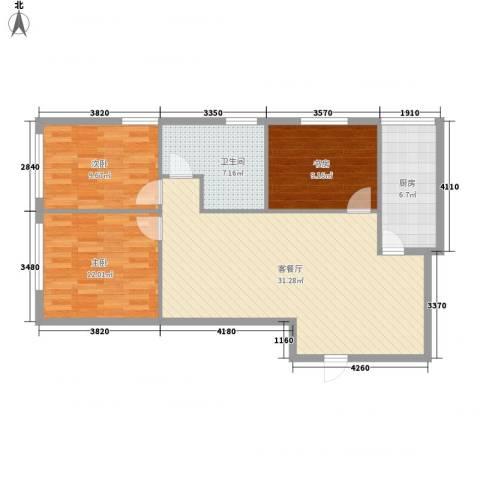 达人社馆3室1厅1卫1厨105.00㎡户型图