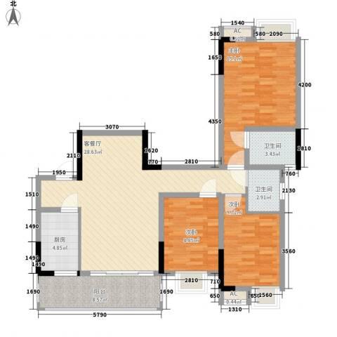 香草山二期3室1厅2卫1厨96.39㎡户型图