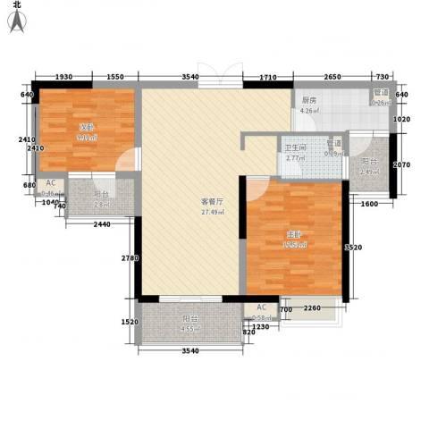 城际风尚2室1厅1卫1厨97.00㎡户型图