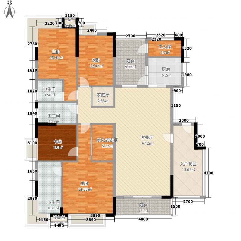 清华居190.00㎡清华居户型图紫庐1-14栋标准层A户型5室3厅3卫1厨户型5室3厅3卫1厨