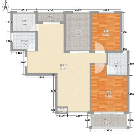 大唐五星公寓2室1厅2卫1厨84.04㎡户型图