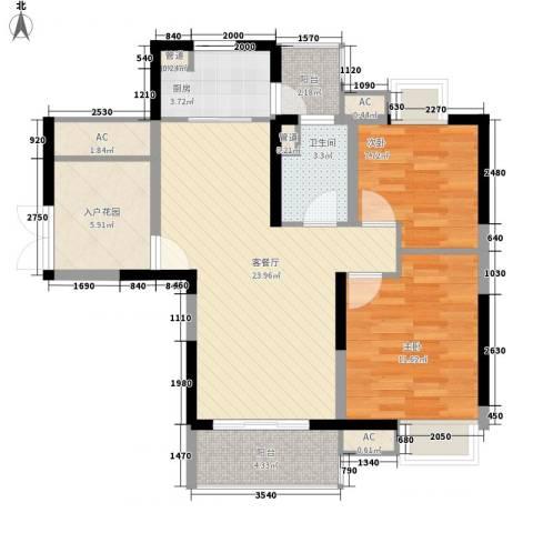 城际风尚2室1厅1卫1厨96.00㎡户型图