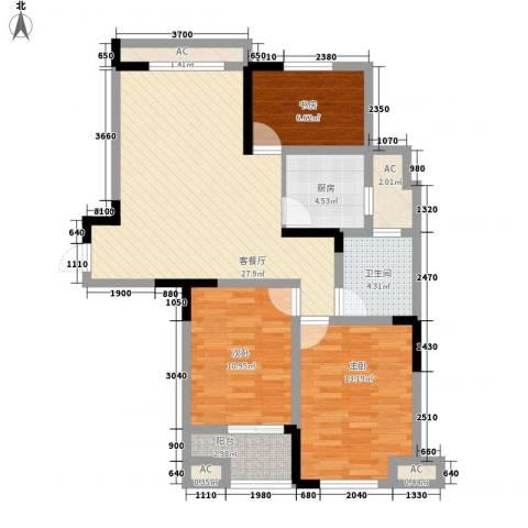 水晶城3室1厅1卫1厨88.37㎡户型图