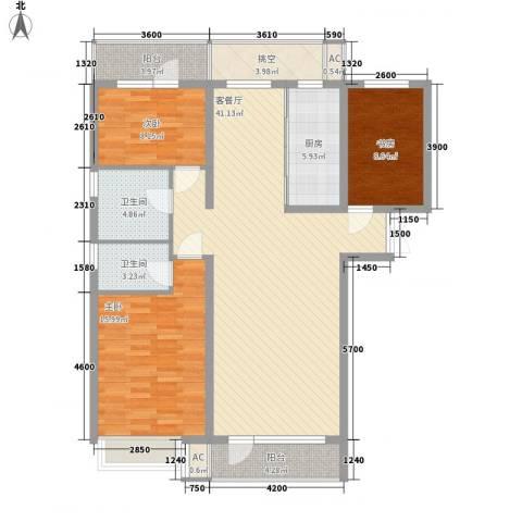 亿锋现代城3室1厅2卫1厨130.00㎡户型图