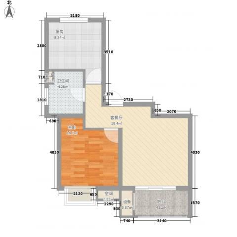 明城海湾新苑1室1厅1卫1厨69.00㎡户型图