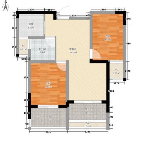 水晶城2室1厅1卫1厨70.98㎡户型图