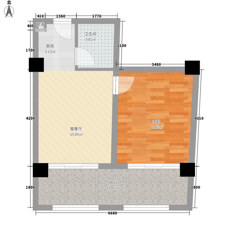 理工・依林郡55.20㎡一期4号楼标准层户型1室1厅1卫1厨