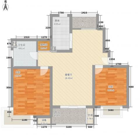 明城海湾新苑2室1厅1卫1厨99.00㎡户型图