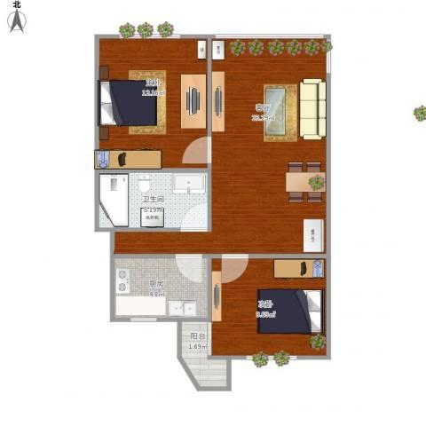 申华小区2室1厅1卫1厨77.00㎡户型图