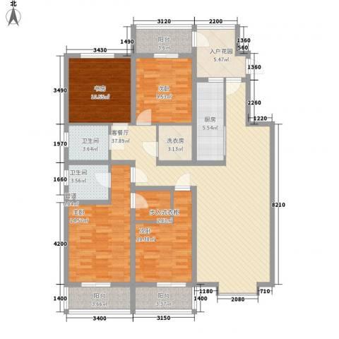 帝都国际城4室1厅2卫1厨171.00㎡户型图