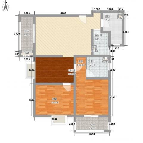 上东大道2室1厅2卫1厨120.00㎡户型图