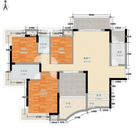 鼎峰品筑二期3室1厅2卫1厨124.00㎡户型图