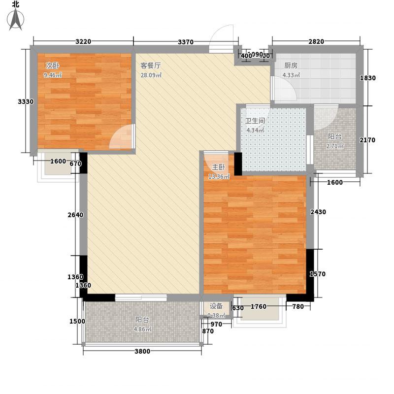 日月山水89.40㎡二期4栋标准层D2户型2室2厅1卫