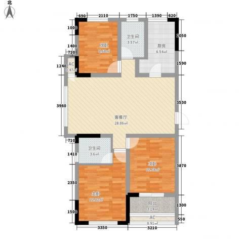 水晶城3室1厅2卫1厨91.00㎡户型图