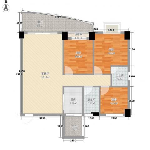 锦绣华庭3室1厅2卫1厨114.00㎡户型图