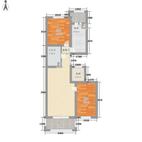 英伦名邸2室1厅1卫1厨71.00㎡户型图