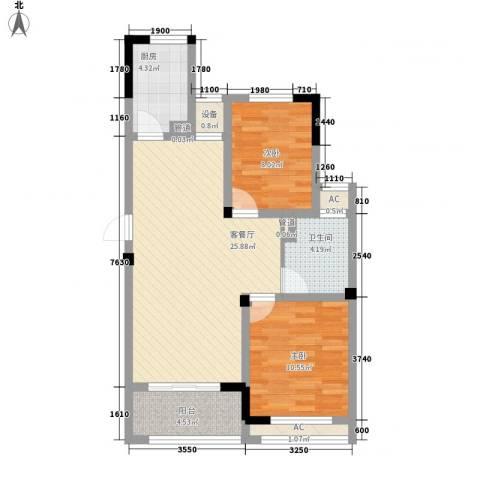 水晶城2室1厅1卫1厨71.13㎡户型图