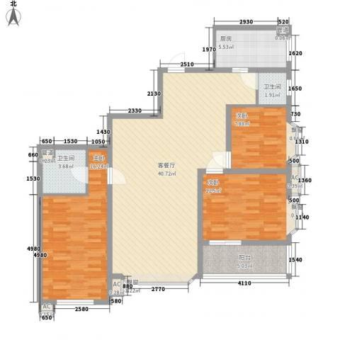 鑫宇翠庭3室1厅2卫1厨135.00㎡户型图