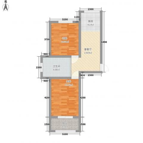 万龙第五城2室1厅1卫0厨65.00㎡户型图