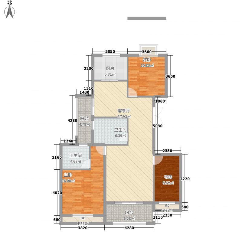 尚格名城香堤漫步12.57㎡7期2栋H户型3室2厅2卫1厨