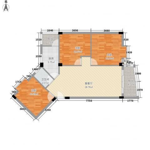 锦绣华庭3室1厅1卫1厨113.00㎡户型图