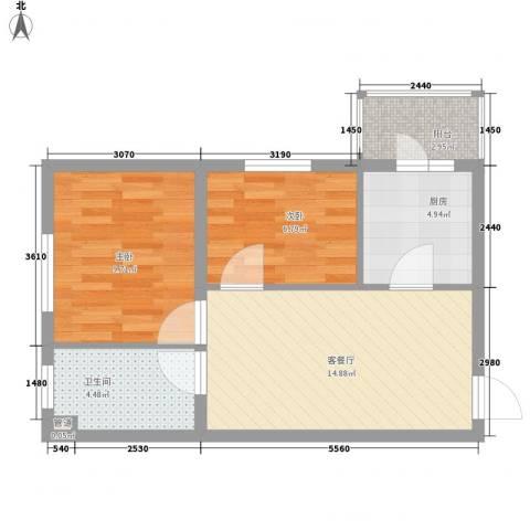 红星家园2室1厅1卫1厨43.81㎡户型图