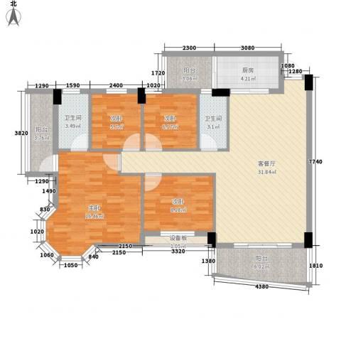 锦绣华庭4室1厅2卫1厨134.00㎡户型图