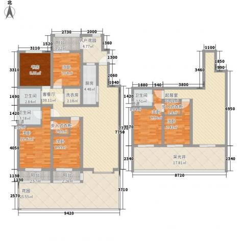 帝都国际城6室1厅3卫1厨268.00㎡户型图