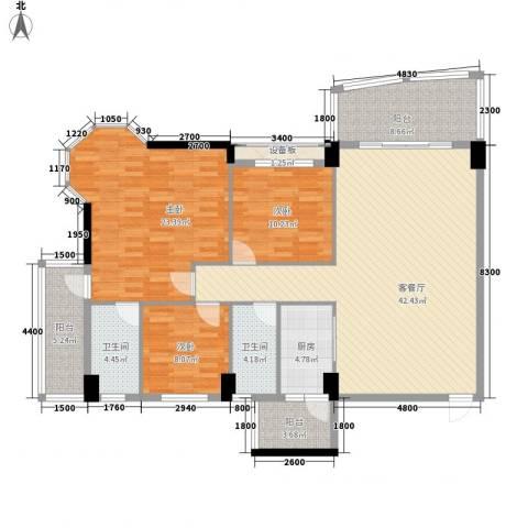 锦绣华庭3室1厅2卫1厨163.00㎡户型图
