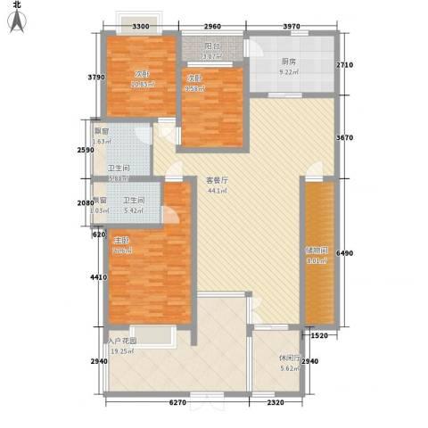 十里江南3室1厅2卫1厨145.00㎡户型图