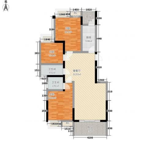 香草山二期3室1厅2卫1厨85.42㎡户型图