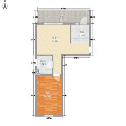 红星家园1室1厅1卫0厨55.33㎡户型图