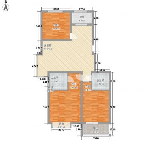 帝都国际城3室1厅2卫1厨132.00㎡户型图