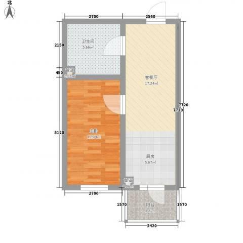 红星家园1室1厅1卫0厨38.27㎡户型图