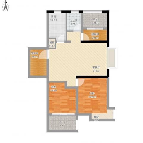 蜜橙2室1厅1卫1厨104.00㎡户型图