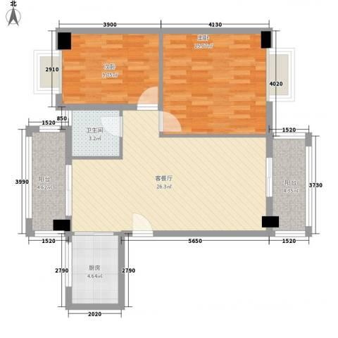 紫荆花园四期2室1厅1卫1厨77.87㎡户型图