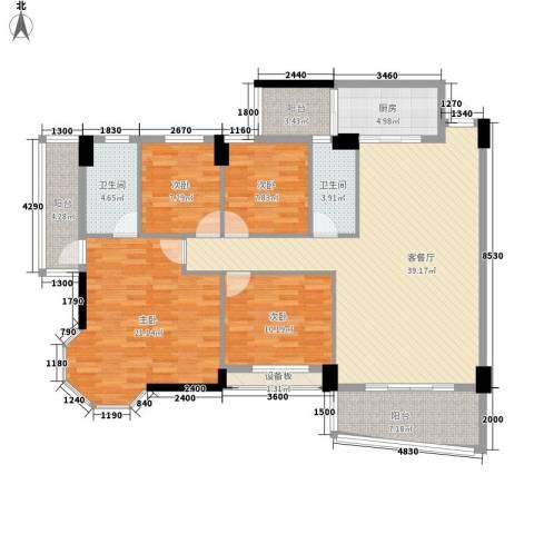 锦绣华庭4室1厅2卫1厨164.00㎡户型图