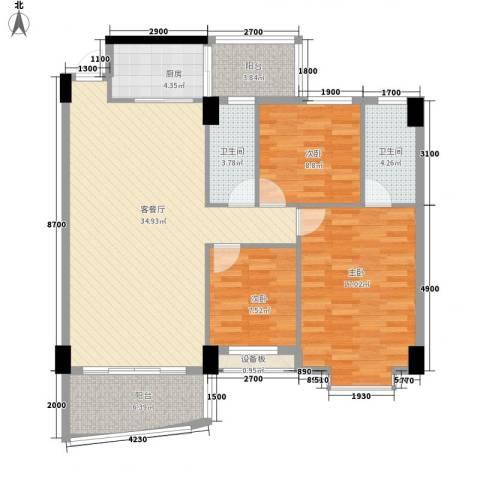 锦绣华庭3室1厅2卫1厨130.00㎡户型图