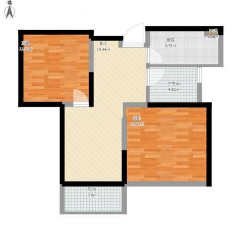南山湖1号2室1厅1卫1厨87.00㎡户型图