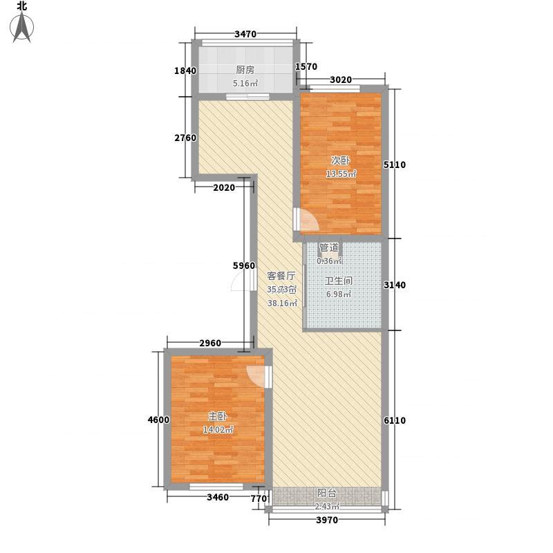 中新花园户型图领世郡组团E户型 2室2厅