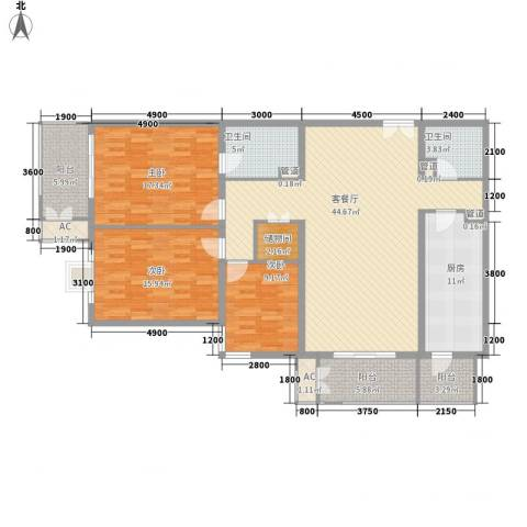 远洋德邑3室1厅2卫1厨168.00㎡户型图