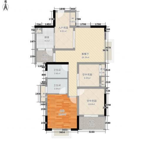 招商花园城1室1厅2卫1厨78.05㎡户型图