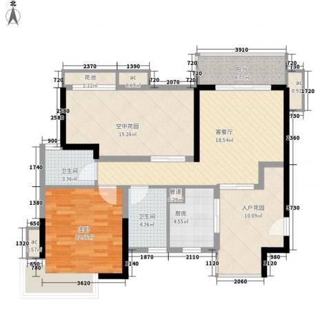 招商花园城1室1厅2卫1厨77.18㎡户型图
