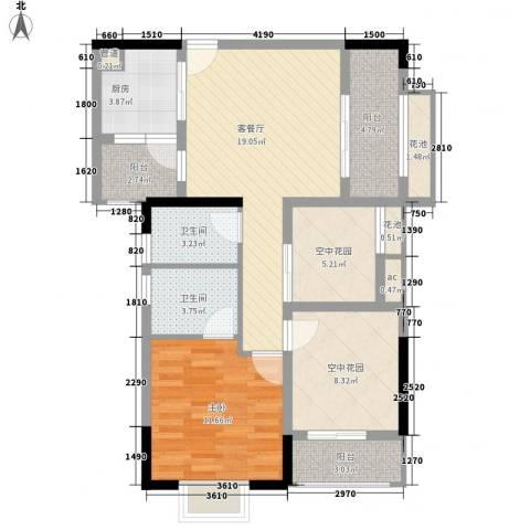 招商花园城1室1厅2卫1厨68.31㎡户型图