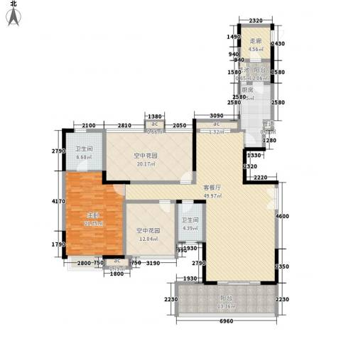 招商花园城1室1厅2卫1厨146.13㎡户型图