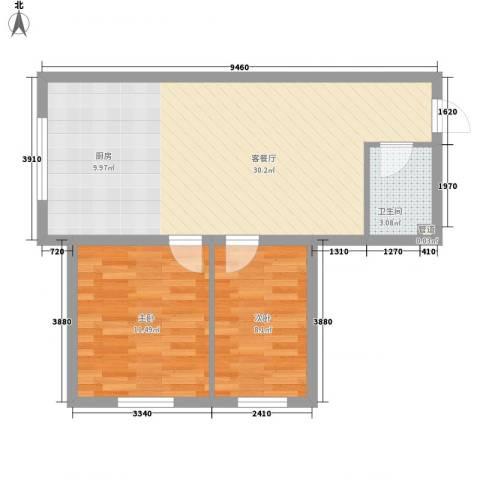 红星家园2室1厅1卫0厨53.00㎡户型图