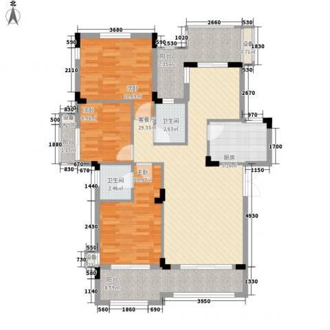 中铁逸都国际3室1厅2卫1厨125.00㎡户型图