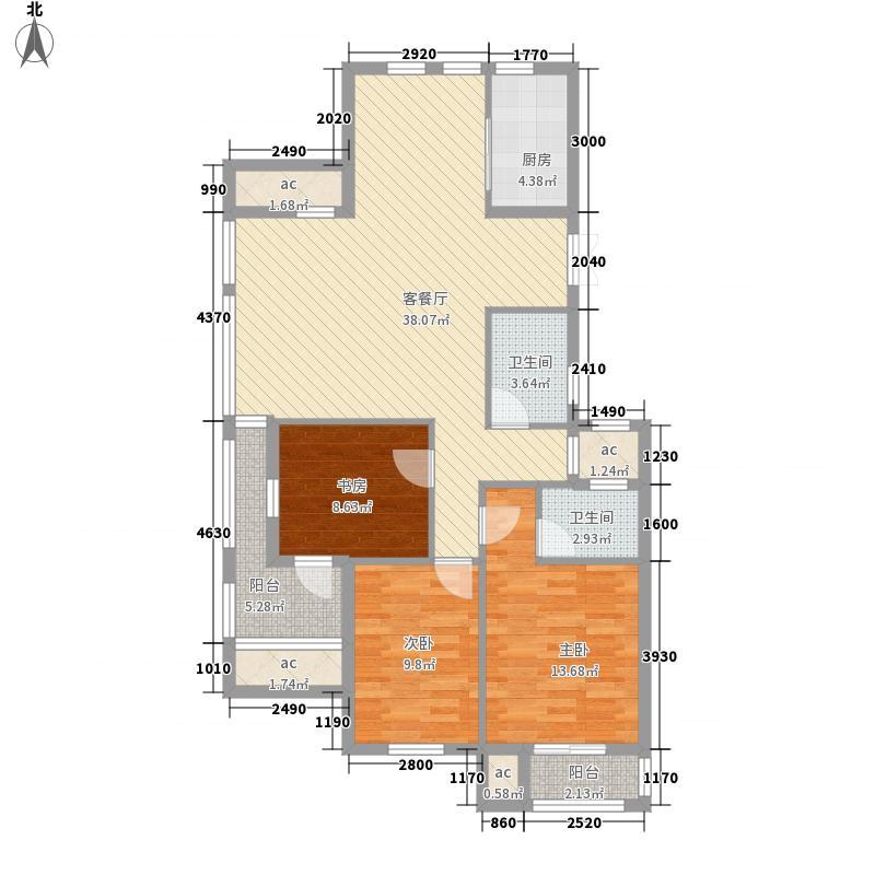 恒威君园和庄135.00㎡一期高层A户型3室2厅2卫1厨