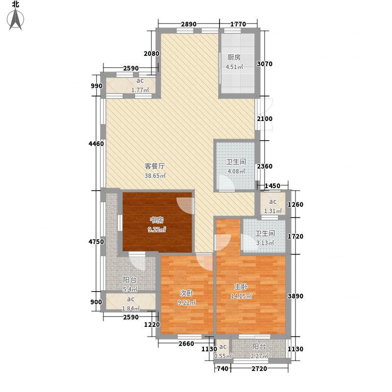 恒威君园和庄137.76㎡二期高层A户型3室3厅3卫1厨
